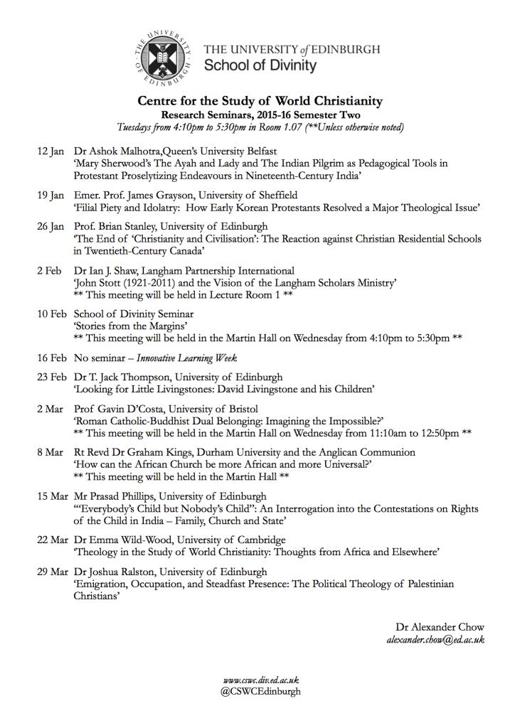 CSWC Seminars - 2015-16, Semester 2