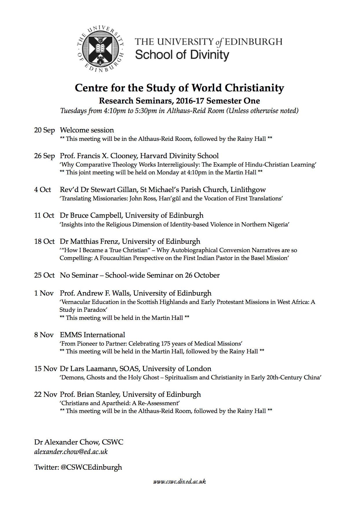 CSWC Seminars - 2016-17, Semester 1