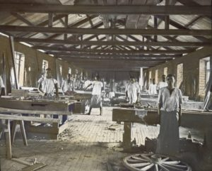 'Carpentry Shop, Livingstonia', unknown photographer, tinted lantern slide, ca. 1894-1904, Church of Scotland Slide and Visual Collection (CSWC47/LS5/1/41), Centre for the Study of World Christianity, Edinburgh.