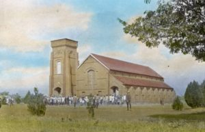 'Ekwendeni Church, Livingstonia', unknown photographer, tinted lantern slide, ca. 1895, Church of Scotland Slide and Visual Collection (CSWC47/LS3/1/56), Centre for the Study of World Christianity, Edinburgh.