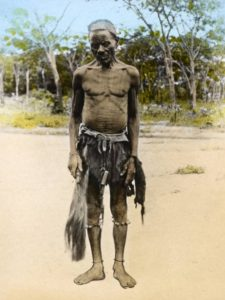 'Witch Doctor, Livingstonia', unknown photographer, tinted lantern slide, ca. 1895, Church of Scotland Slide and Visual Collection (CSWC47/LS3/1/22), Centre for the Study of World Christianity, Edinburgh.